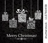 vintage card with christmas... | Shutterstock .eps vector #113783458