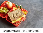 school lunch box with fresh... | Shutterstock . vector #1137847283