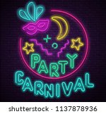 carnival party. textured round... | Shutterstock .eps vector #1137878936