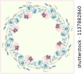 floral round frame from cute... | Shutterstock . vector #1137882860