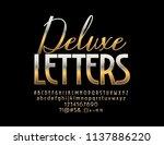 vector gold deluxe font. luxury ... | Shutterstock .eps vector #1137886220