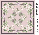 scarf floral print. russian... | Shutterstock . vector #1137892553