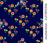 seamless floral pattern with... | Shutterstock . vector #1137892556