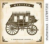 vintage western stagecoach   Shutterstock . vector #1137897353