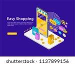 easy shopping isometric vector... | Shutterstock .eps vector #1137899156