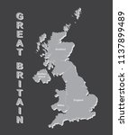 united kingdom map  uk map with ... | Shutterstock .eps vector #1137899489