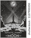 fantastic journey to the moon.... | Shutterstock .eps vector #1137900350