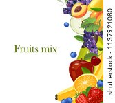 fruits border background vector ... | Shutterstock .eps vector #1137921080