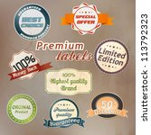 set of retro badge and labels.... | Shutterstock .eps vector #113792323