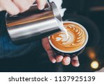 barista make coffee latte art... | Shutterstock . vector #1137925139