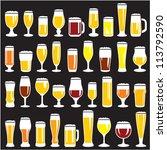 beer glasses set. beer mugs.... | Shutterstock .eps vector #113792590
