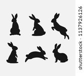 Stock vector rabbit set isolated on white background bunny silhouettes vector 1137926126