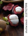 mangosteen tropical fruit   Shutterstock . vector #1137927098