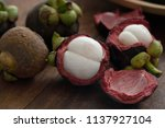 mangosteen tropical fruit   Shutterstock . vector #1137927104