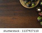 mangosteen tropical fruit with...   Shutterstock . vector #1137927110