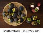 mangosteen tropical fruit flat...   Shutterstock . vector #1137927134