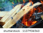 firewood burning in the brazier.... | Shutterstock . vector #1137936563