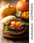beef burger with pumpkin chutney | Shutterstock . vector #1137940343