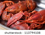 Freshly Cooked Lobsters Served...