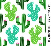 cute hand drawn cactus seamless ... | Shutterstock . vector #1137945869