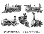 graphical set of locomotives... | Shutterstock .eps vector #1137949463
