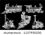 graphical set of locomotives... | Shutterstock .eps vector #1137950330