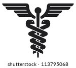caduceus medical symbol (emblem for drugstore or medicine, medical sign, symbol of pharmacy, pharmacy snake symbol)