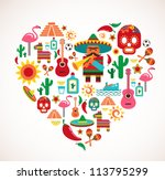 mexico love   heart with set of ... | Shutterstock .eps vector #113795299