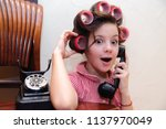 girl chatting on a retro... | Shutterstock . vector #1137970049