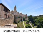 Small photo of Beautiful Privileged Views of the Cathedral and the Central Buildings of Segovia. Architecture History Travel. June 18, 2018. Segovia Castilla-Leon Spain.