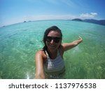 young happy tourist woman... | Shutterstock . vector #1137976538