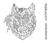 wild beautiful wolf head hand...   Shutterstock .eps vector #1137978956