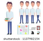 student boy holding stack of... | Shutterstock .eps vector #1137982154