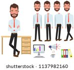 male office manager at desk... | Shutterstock .eps vector #1137982160