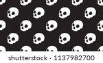 skull seamless halloween vector ... | Shutterstock .eps vector #1137982700