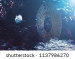 forest butterfly in flight... | Shutterstock . vector #1137986270