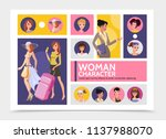 flat woman characters avatars... | Shutterstock .eps vector #1137988070