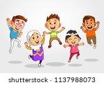 jumping kids  jumping school... | Shutterstock .eps vector #1137988073