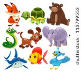 Stock vector set of animals cartoon and vector isolated characters 113799553