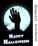 halloween zombie hand background | Shutterstock .eps vector #113799628