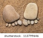Trace Feet Made Of A Pebble...