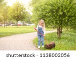 a little girl blonde in denim... | Shutterstock . vector #1138002056