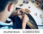different goldsmiths tools on... | Shutterstock . vector #1138002503