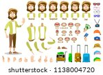 male character with set of body ... | Shutterstock .eps vector #1138004720