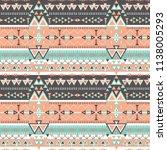 tribal art pattern. ethnic... | Shutterstock .eps vector #1138005293