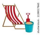 wooden beach chair and sand... | Shutterstock .eps vector #1138017860