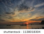 a fisherman is coming home... | Shutterstock . vector #1138018304