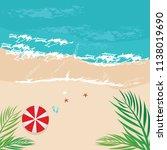beach vector summer holiday  | Shutterstock .eps vector #1138019690