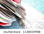 pile of colorful kayak or canoe ... | Shutterstock . vector #1138024988