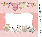 Stock vector baby girl shower card 113802676